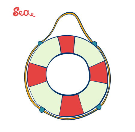 Lifebuoy isolated. Symbol of salvation and help. SOS. Marine themes