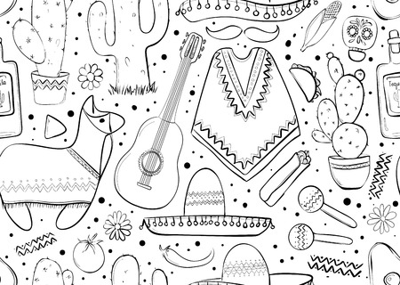 Feesta and Latin American festivals. Seamless pattern on mexico theme. Traditional Spanish objects. Poncho and sambrebo. Guitar and maracas. Tequila with cactus