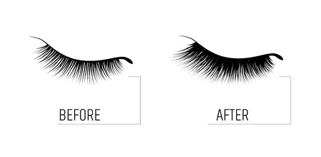 Eyelash extension. A beautiful make-up. Thick fuzzy cilia. Mascara for volume and length. Before and after the procedure. cosmetic for the growth of eyelashes 스톡 콘텐츠 - 105069056