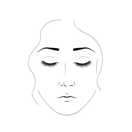 The girl face is created by black lines. Elegant portrait of a woman with closed eyes and beautiful eyelashes. Element for cosmetic salon procedures Çizim