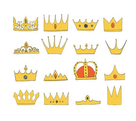 coronas con gemas y diamantes engastados. Un símbolo de autoridad. Tocado del Rey. Icono que denota éxito e insignia. Corona dorada Ilustración de vector