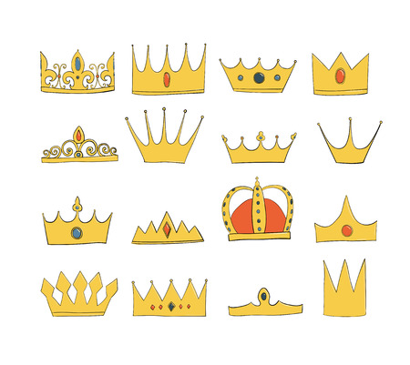 crowns with gems and diamonds set. A symbol of authority. Headpiece of the King. Icon denoting success and insignia. Gold crown