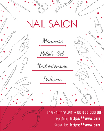 nail salon. Template of a poster, a flyer or a price tag. Manicure and pedicure design layout.
