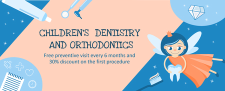 Dentistry and orthodontics for children. Banner or flyer design template. Tooth Fairy. Hygiene of the oral cavity.