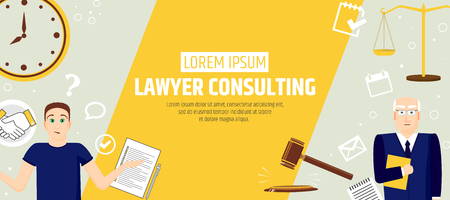Lawyer consulting. A banner template of a law firm or company. Flyer legal services Stock fotó - 106234475