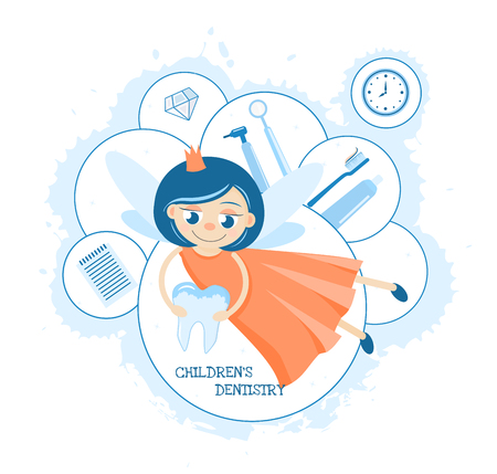 Tooth Fairy. Childrens dental clinic. Toothpaste for children. Care and hygiene of the oral cavity. dentistry and orthodontics Illustration