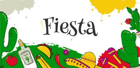 Fiesta y tema latino de mexico. Objetos tradicionales españoles. Tequila con cactus