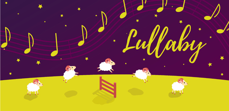 baby song lullaby before bedtime. Lambs jump over the fence. music in the starry sky. Vector