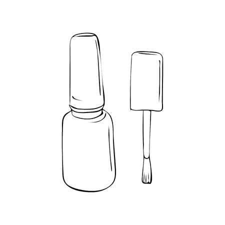 nail polish. Manicure salon. Beauty object isolated on a white. Outline or countour Illustration