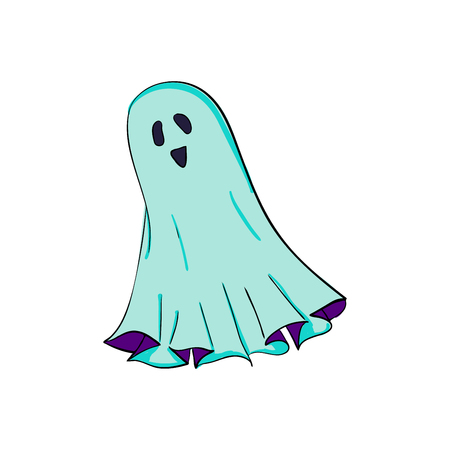 Spook symbol of Halloween. Ghost character of horror. Mystical Nightmare. Isolated