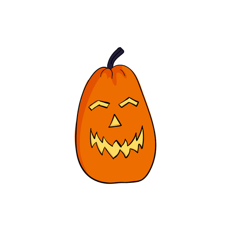 Pumpkin halloween angrily smiles. Scary face. cartoon style