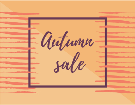 Autumn season sale banner template. Design layout. Place for text. Frame