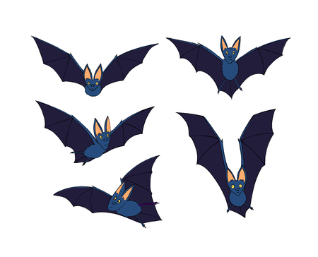 Bats Set Nocturnal Animal A Symbol Of Halloween The Bat In