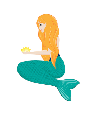 The red-haired mermaid sits and holds a flower in his hands. Water nymph. Vector Çizim