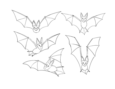 Bats set. Nocturnal animal. A symbol of Halloween. The bat in flight Cartoon style