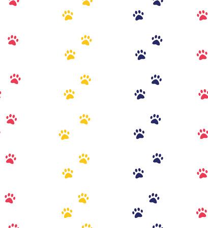 modèles sans couture de patte de chat ou de chien. arrière-plans pour les sites Web et les impressions d'animalerie. Empreinte animale. Motif de couleurs à la mode mignon Vecteurs