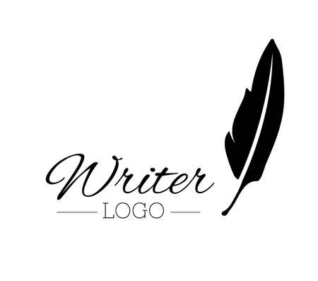 vintage pen feather writer symbol, literature icon, diary sign, black illustration, writer logo templated