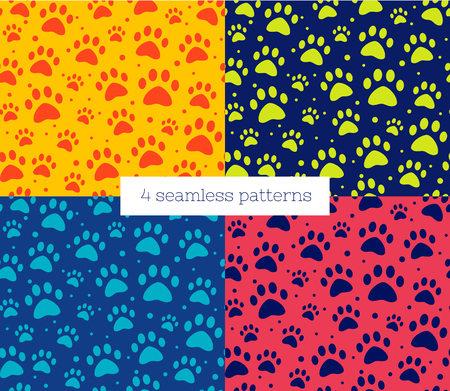 cat or dog paw set seamless patterns. backgrounds for pet shop websites and prints. Animal footprint  イラスト・ベクター素材