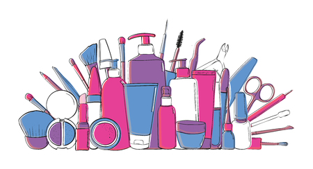 Beauty blog or makeup store hat. Beauty salon and make-up produkts. Drawing hands. isolated Illustration