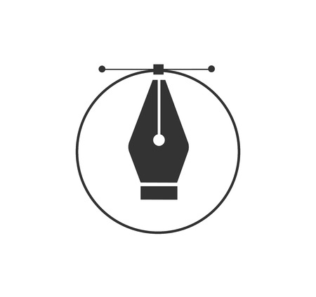 Pen tool cursor. Vector computer graphics. Logo for designer or illustrator. Design icon. The curve control points. Stock Illustratie