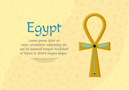 Religious sign of the ancient Egyptian cross - Ankh. A symbol of life. Symbols of Egypt. Gold