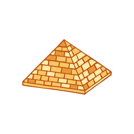 Pyramid of ancient Egypt of blocks. Ethnicity, archeology and history. Isolated on a white Illustration