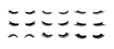 Conjunto de extensión de pestañas. Hermosas pestañas largas negras. Ojo cerrado. Cilia de falsa belleza. Mascara de efecto natural. Maquillaje glamour profesional.