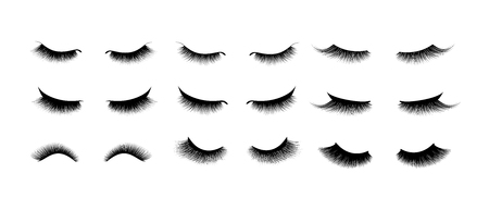 Wimperverlengingsset. Mooie zwarte lange wimpers. Gesloten oog. Valse schoonheid trilharen. Mascara natuurlijk effect. Professionele glamourmake-up.