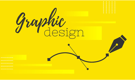 Graphic design. Pen tool cursor. Vector computer graphics. banner for designer or illustrator. The curve control points.