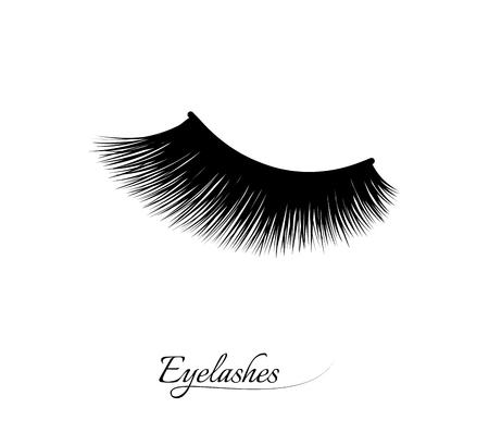 Eyelash extension. Beautiful black long eyelashes. Closed eye . False beauty cilia. Mascara natural effect. Professional glamor makeup. Illustration