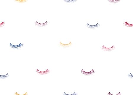 seamless pattern false eyelash. Background for the beauty salon. Decorative cosmetics and makeup. Closed eye. Eyelashes