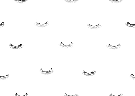 seamless pattern false eyelash. Background for the beauty salon. Decorative cosmetics and makeup. Closed eye. Eyelashes Vettoriali