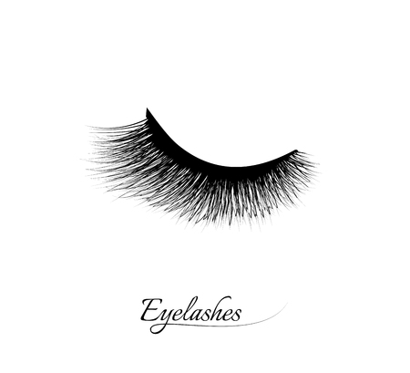 Eyelash extension. Beautiful black long eyelashes. Closed eye . False beauty cilia. Mascara natural effect. Professional glamor makeup. Vettoriali