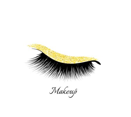 Makeup Eye Shadow. Golden shiny. Closed eye. Natural eyelashes. Glamour make up Çizim