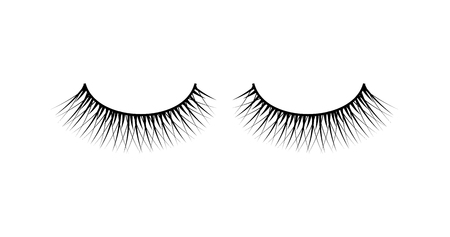 False eyelashes. Fake the cilia. Isolated on a white. Make up