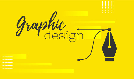 Graphic design. Pen tool cursor. Vector computer graphics. banner for designer or illustrator. The curve control points. Yellow