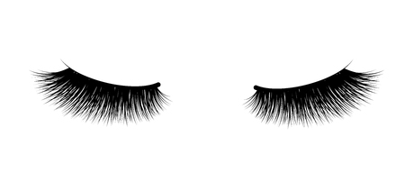 Eyelash extension. A beautiful make-up. Thick fuzzy cilia. Mascara for volume and length. False 스톡 콘텐츠 - 107851098