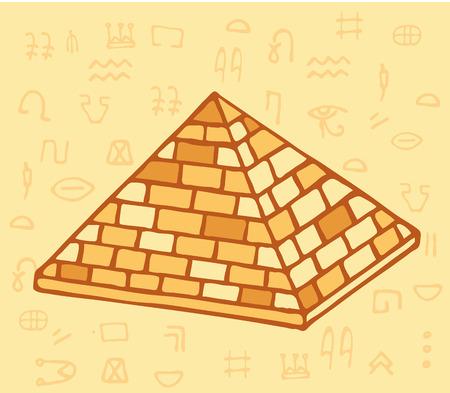 Pyramid of ancient Egypt of blocks. History and archeology Illustration