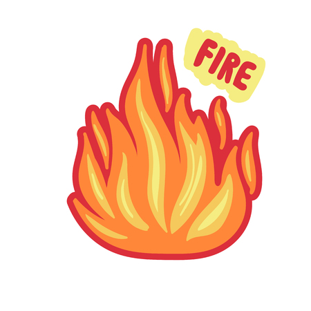 isolated fire sticker. bright Flame on white.