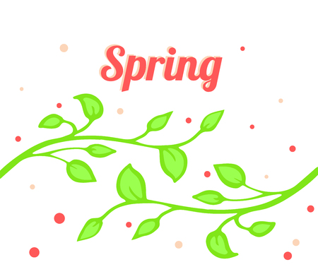bright spring illustration with twigs and foliage.