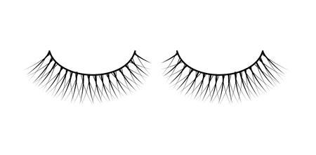 False eyelashes. Fake the cilia. Isolated on a white. Make up