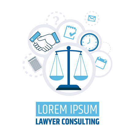 Lawyer consulting. Justice scales. A banner template of a law firm or company. Flyer legal services. Illustration Illustration