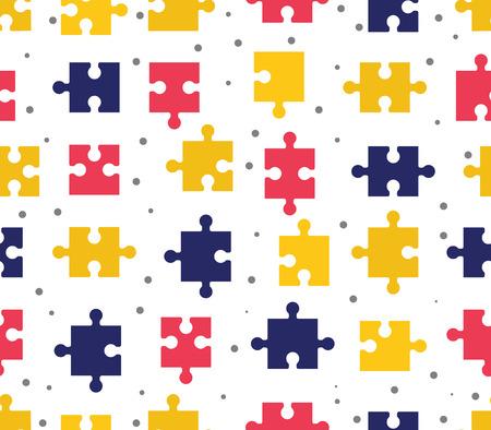 pezzi puzzle seamless pattern. Giochi di sfondo colorato. Creatività e innovazione