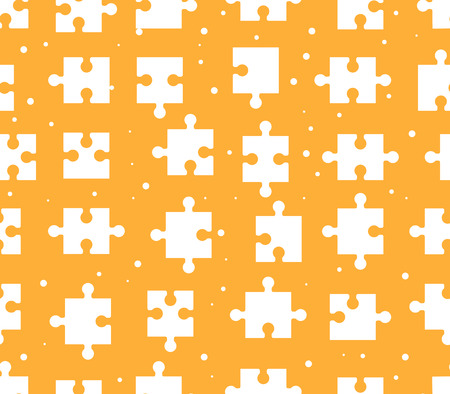 pieces puzzle seamless pattern. Orange background games. Creativity and innovation