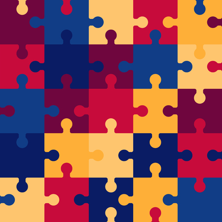 pieces puzzle seamless pattern. Colorful background games. Creativity and innovation. Retro style