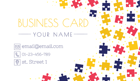 Puzzle business card template. Creativity and innovation. Bright smart design