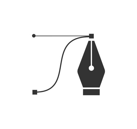 Pen tool cursor.  computer graphics. Logo for designer or illustrator. Design icon. The curve control points. Stockfoto