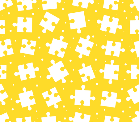 pieces puzzle seamless pattern. Yellow background games. Creativity and innovation