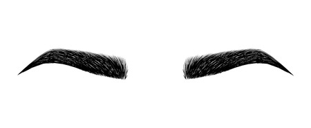 eyebrow perfectly shaped. permanent make-up and tattooing. Cosmetic for eyebrows. Beauty salon. Stock Illustratie