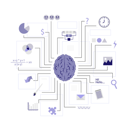 Function of the brain. Artificial intelligence. AI Illustration Stock Photo